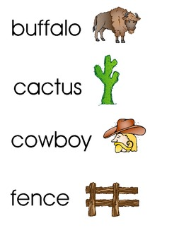 Western Word Wall Vocab Cards