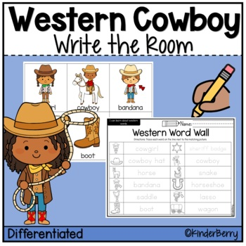 Western Cowboy Word Work Write the Room Center