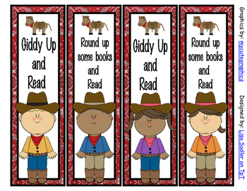 Western/Cowboy Themed Bookmarks - 4 Designs