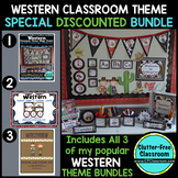 WESTERN / COWBOY THEME Decor - 3 EDITABLE Clutter-Free Classroom Decor BUNDLE