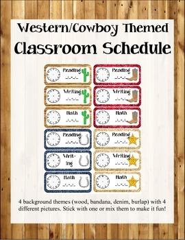 Western/Cowboy Themed Classroom Schedule