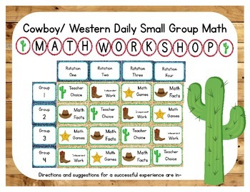 Western/Cowboy Themed Classroom Small Group Math Center/ W
