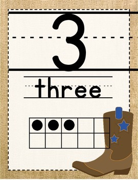 Western/Cowboy Themed Number Posters 1-20