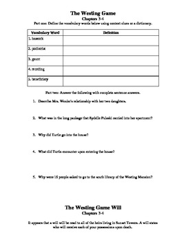 Westing Game Ch 1-8 Worksheets/Activities by Grammarlady | TpT