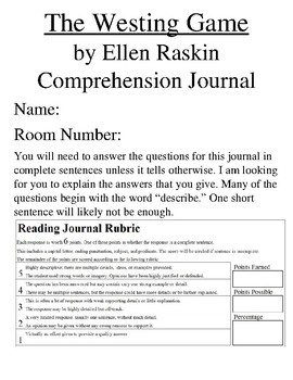 Westing Game Comprehension Response Journal Vocabulary Ellen Raskin Newbery