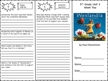 """Westlandia"" Trifold Activity McGraw Hill Reading Wonders 5th Grade"