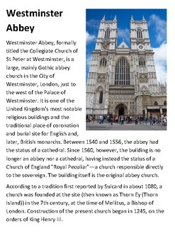 Westminster Abbey Handout