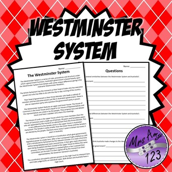 Westminster System Text and Questions