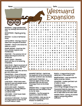 westward expansion worksheet kidz activities. Black Bedroom Furniture Sets. Home Design Ideas