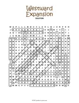Westward Expansion Word Search Puzzle
