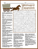 No Prep Westward Expansion Word Search Puzzle Worksheet Activity