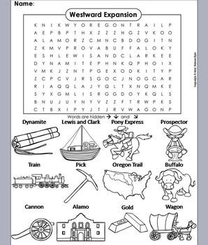 Westward Expansion Unit: Westward Expansion Word Search/ Coloring Sheet