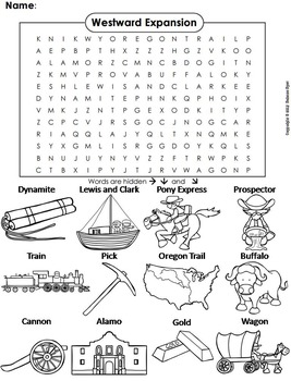 Westward Expansion Word Search/ Coloring Sheet