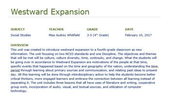 Westward Expansion Unit Plans