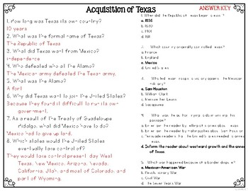 Annexation of Texas, Acquisition of Texas, and Westward Expansion