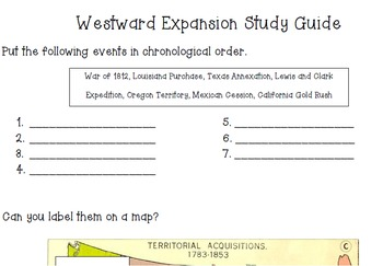 Westward Expansion Assessment, Quizzes, Study Guide, and Projects