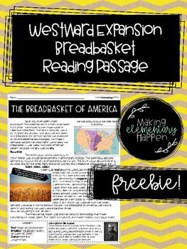 Westward Expansion Breadbasket Reading Passage - Freebie