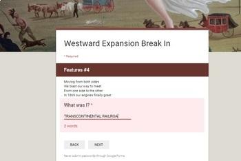 Westward Expansion-Manifest Destiny Break In Activity
