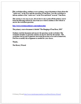 Westward Expansion: Cattle Wars and the Execution of Tom Horn Worksheet