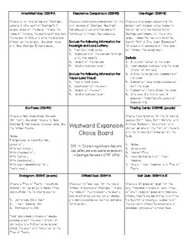 Westward Expansion Choice Board (SS8H4)