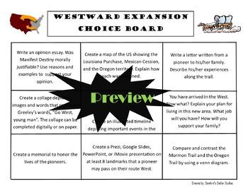 Westward Expansion Choice Board Social Studies Activity Menu Project Rubric