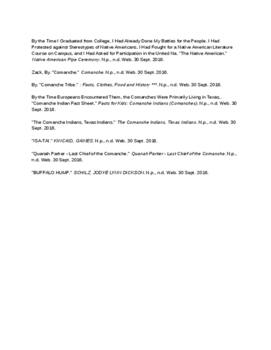 Westward Expansion- Comanche- Notes Page- Customs, behavior, enemies, etc,