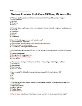 Westward Expansion: Crash Course US History #24 Quiz