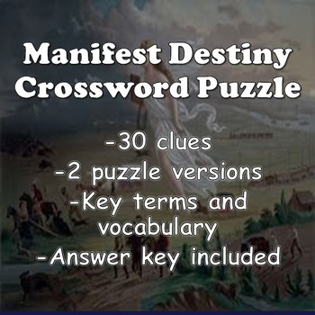 Westward Expansion Crossword (Manifest Destiny)