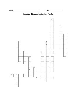 Westward Expansion: Crossword Puzzle