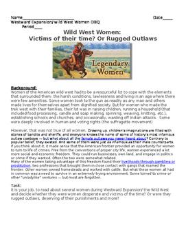 Westward Expansion DBQ: Wild West Women- Victims of the ti