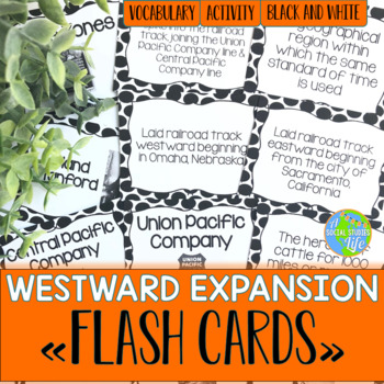 Westward Expansion Flash Cards - Black and White