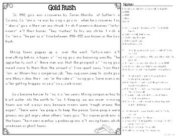 Westward Expansion: Gold Rush {Differentiated Close Reading Passages}