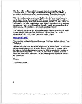 Westward Expansion: Gunslingers in Four Minutes Video Worksheet
