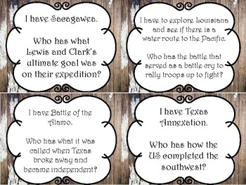 Westward Expansion & Key People (Abolitionists & Suffragists) I Have, Who Has
