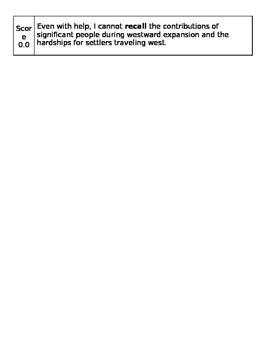 Westward Expansion Learning Goal Rubric
