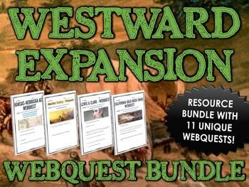 Westward Expansion / Manifest Destiny - Webquest Bundle / Centers Activity