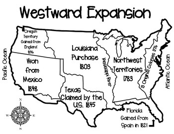 westward expansion map activity with asessment questions