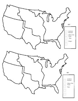 Westward Expansion Map + Key + Directions