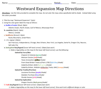 Westward Expansion Mapping Activity
