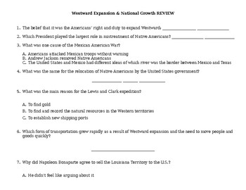 Westward Expansion & National Growth review game