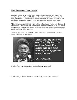 Westward Expansion: Natives Packet (Cheif Joseph, Wounded Knee and Ghost Dance)
