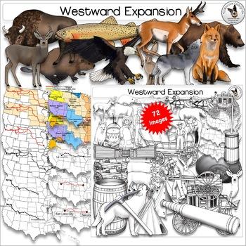 Westward Expansion Oregon Trail Lewis and Clark Mormon Trail Realistic Clip Art