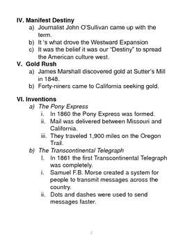 Westward Expansion Part 1 Study Guide and Worksheet Bundle