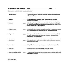 Westward Expansion: Pre-Civl War Expansion & Division Vocab Quiz