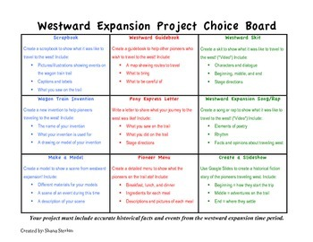 Westward Expansion Project Choice Board