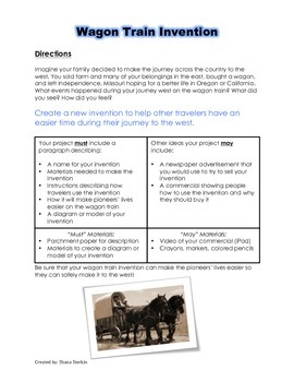 Westward Expansion Project Choice Board DIRECTIONS