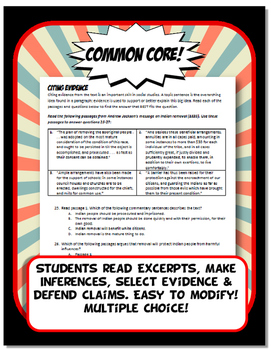 Westward Expansion Quiz and Test Common Core Writing and Literacy