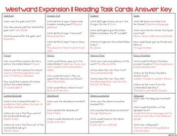 Westward Expansion Reading Comprehension & Fluency Task Cards