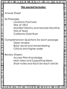 Westward Expansion Reading Packet