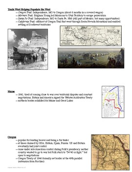 Westward Expansion Reference Sheet and Review Activity